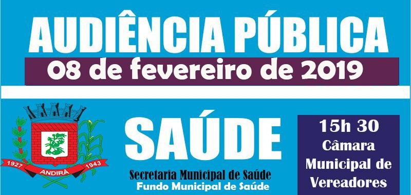 Saúde realiza, no dia 08 de fevereiro, Audiência Pública referente ao 3º Quadrimestre de 2018