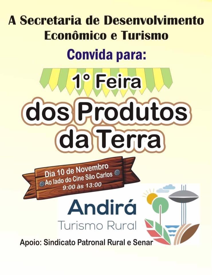 Turismo Rural: Feira dos Produtores da Terra acontece sábado, dia 10, ao lado Cine Teatro São Carlos