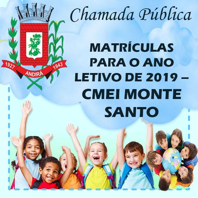 CMEI Monte Santo: A partir desta quarta-feira, dia 07, começam as matrículas para novo Centro de Educação Infantil de Andirá