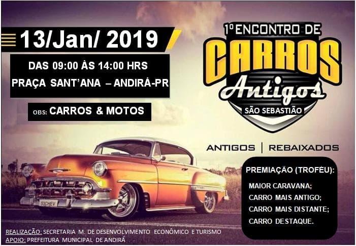 Turismo de Eventos: Andirá promove, dia 13, o 1º Encontro de Carros Antigos - São Sebastião