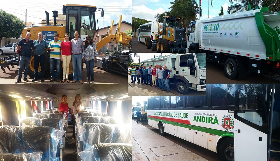 Conquistas para Andirá: Prefeitura amplia frota com novo Ônibus, Motoniveladora e Caminhão