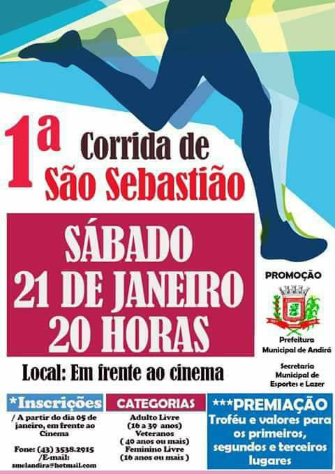 1ª Corrida de São Sebastião acontece neste sábado, dia 21, em Andirá; mais de 100 atletas já estão confirmados