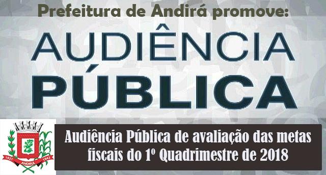 Prefeitura promove, nesta segunda, dia 28, Audiência Pública das Metas Fiscais sobre o 1º Quadrimestre de 2018