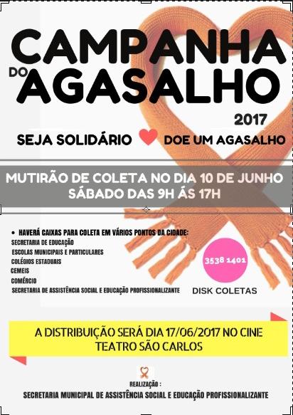 Campanha do Agasalho 2017: Mutirão de coleta será neste sábado. Participe!
