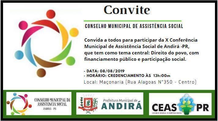 CONVITE - X Conferência Municipal de Assistência Social de Andirá