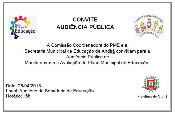 Audiência Pública sobre o Plano Municipal de Educação acontece nesta quinta, dia 26