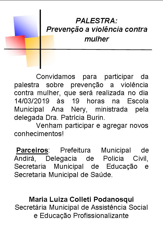 CONVITE - Palestra sobre a violência contra a mulher