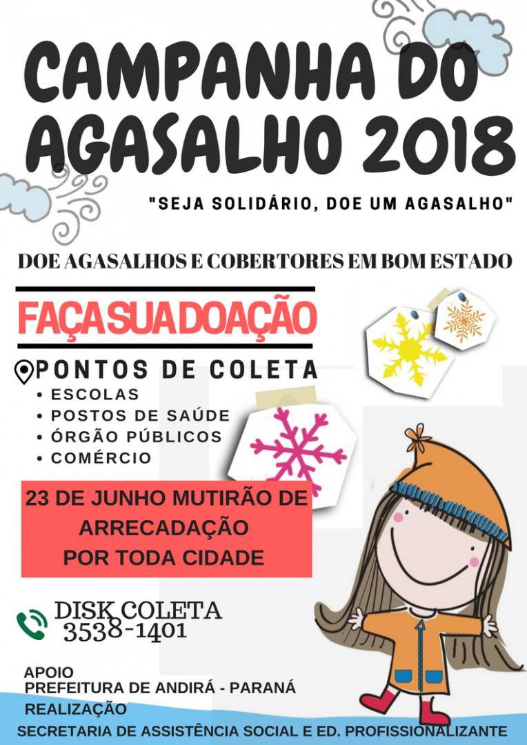 Ação solidária: Arrecadação da Campanha do Agasalho 2018 será neste sábado, dia 23