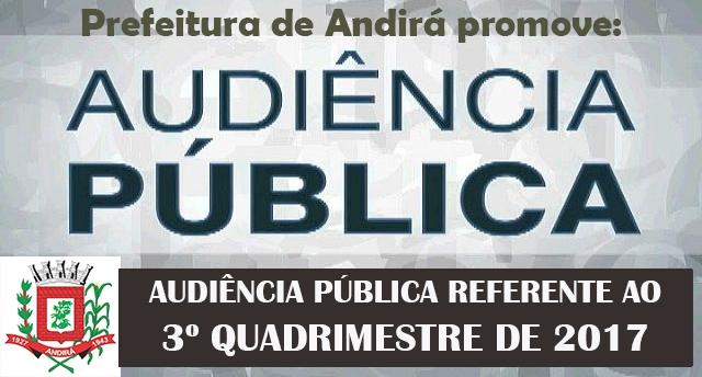 Prefeitura promove, nesta terça, dia 20, Audiência Pública das Metas Fiscais sobre o 3º Quadrimestre de 2017