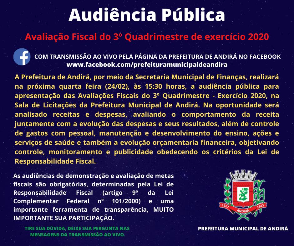 Convite Audiência Pública de Avaliação Fiscal do 3º Quadrimestre de 2020