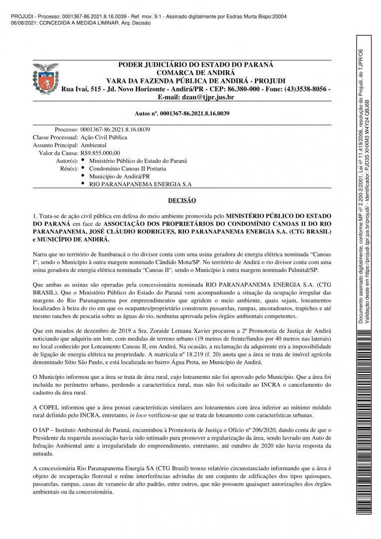 Decisão Liminar - Processo: 0001367-86.2021.8.16.0039