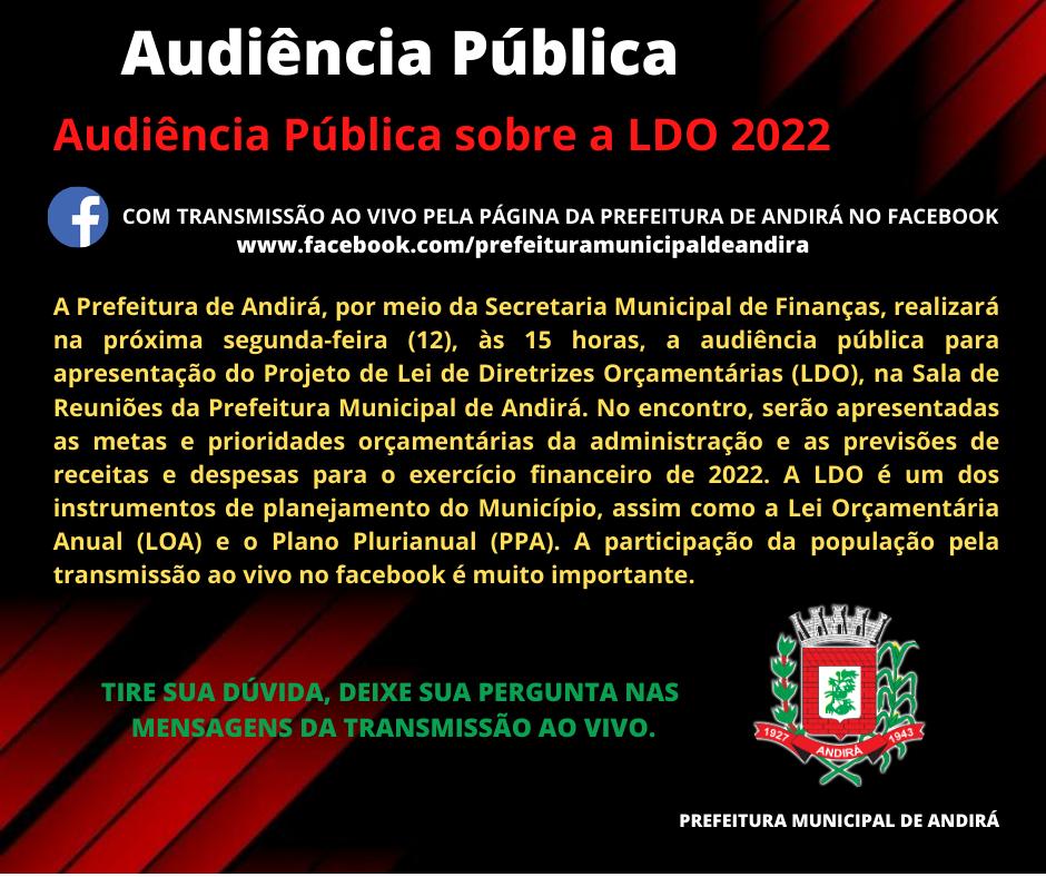 Audiência Pública sobre a LDO 2022 com transmissão ao vivo pela página da Prefeitura no Facebook
