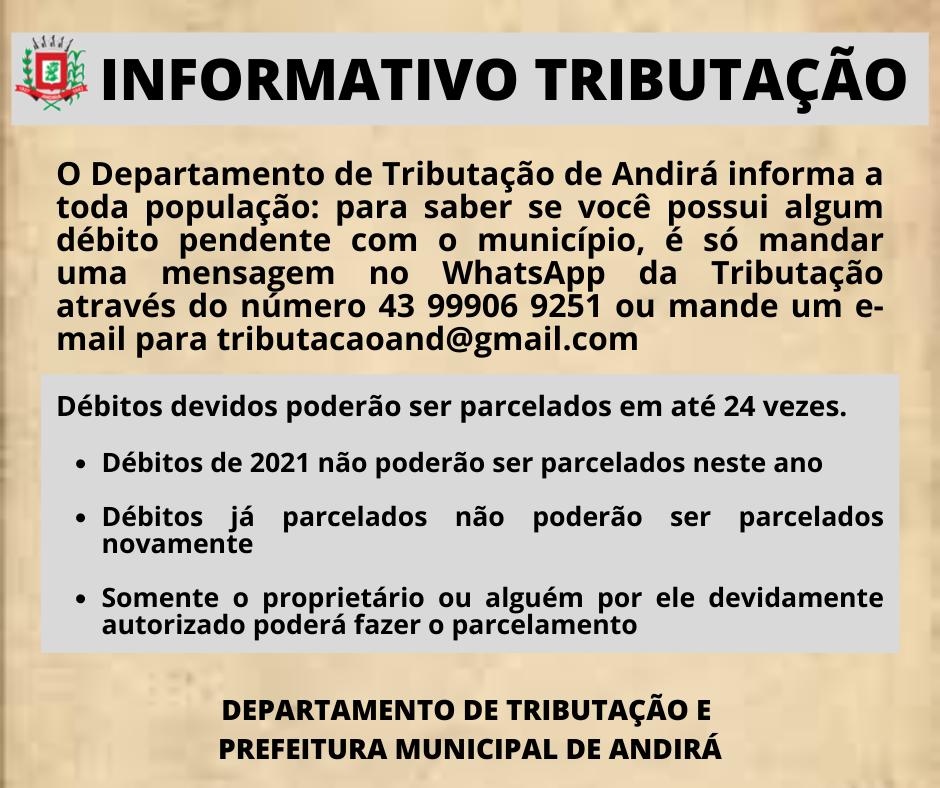 Informativo do Departamento de Tributação de Andirá