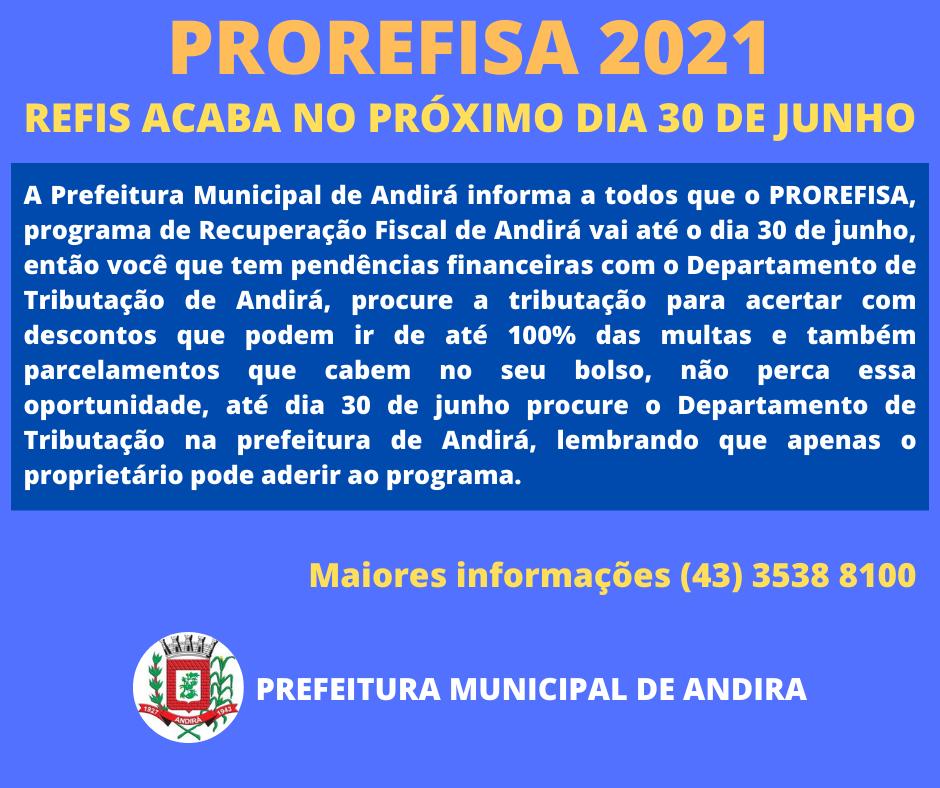 Prazo para o PROREFISA 2021 vai até dia 30 de junho