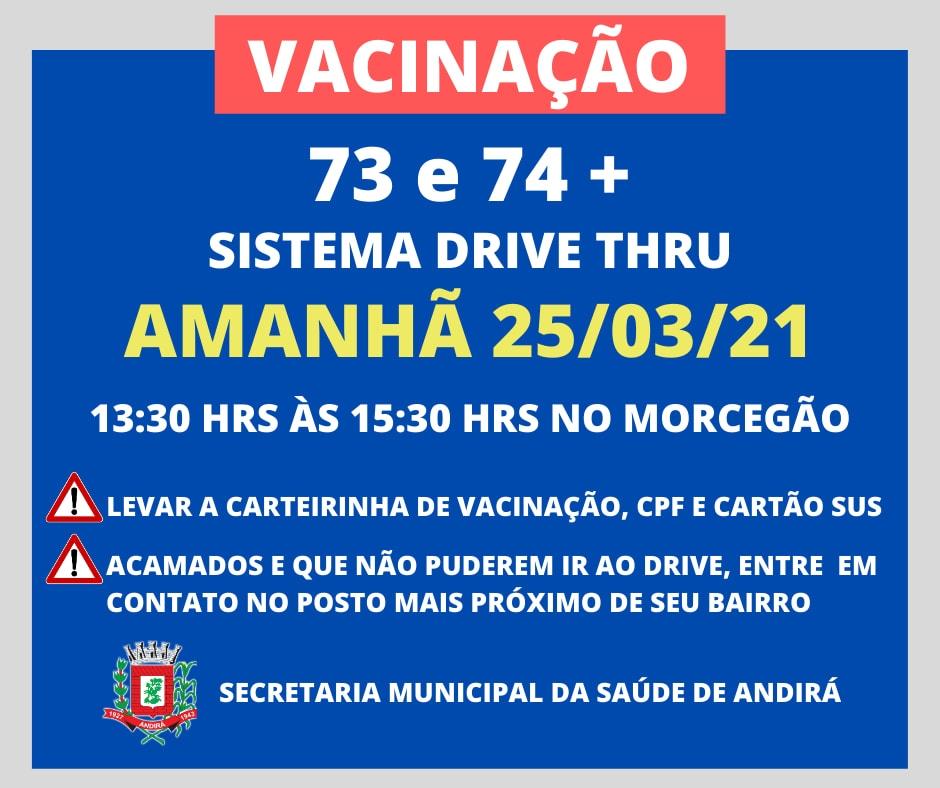 Vacinação 73 e 74 anos - Sistema Drive Thru