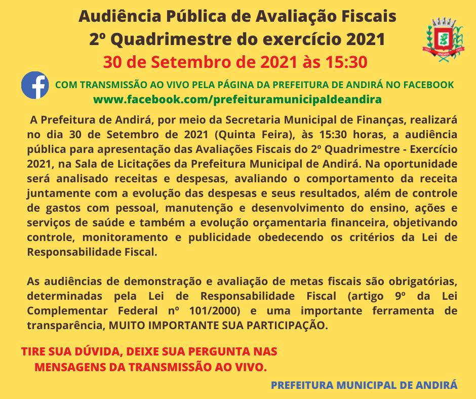 Audiência Pública de Avaliação Fiscais do 2º Quadrimestre do exercício 2021