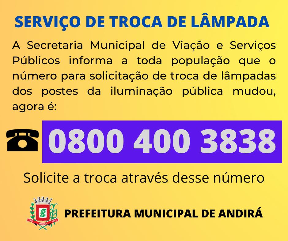 Serviços para troca de lâmpadas da iluminação pública
