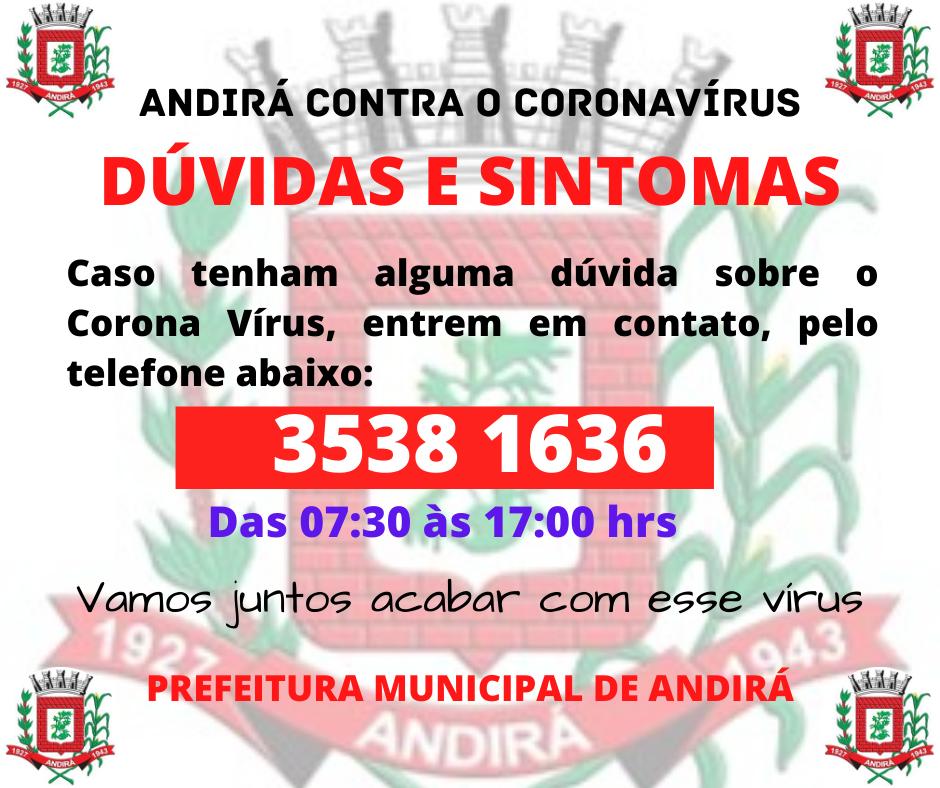 Telefone para dúvidas sobre o Coronavírus