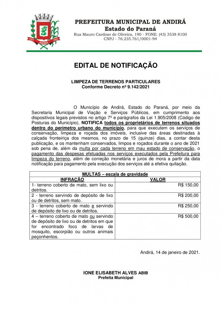 EDITAL DE NOTIFICAÇÃO LIMPEZA DE TERRENOS PARTICULARES