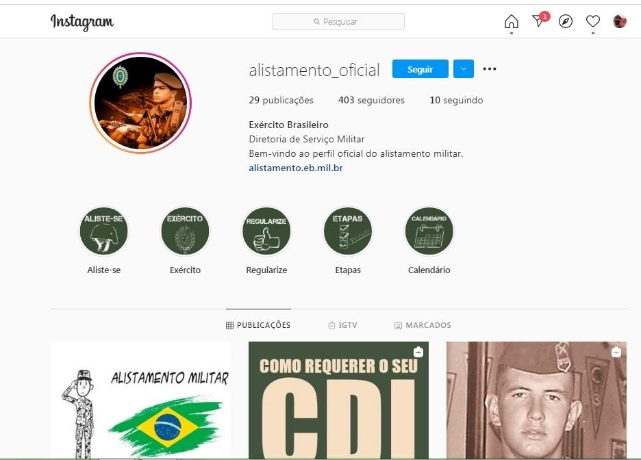 Diretoria de Serviço Militar lançou o perfil @alistamento_oficial no Instagram