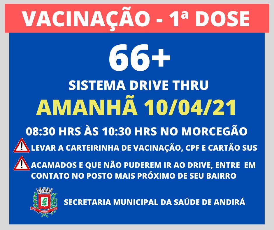 Informações sobre a vacinação em Andirá - 66 anos