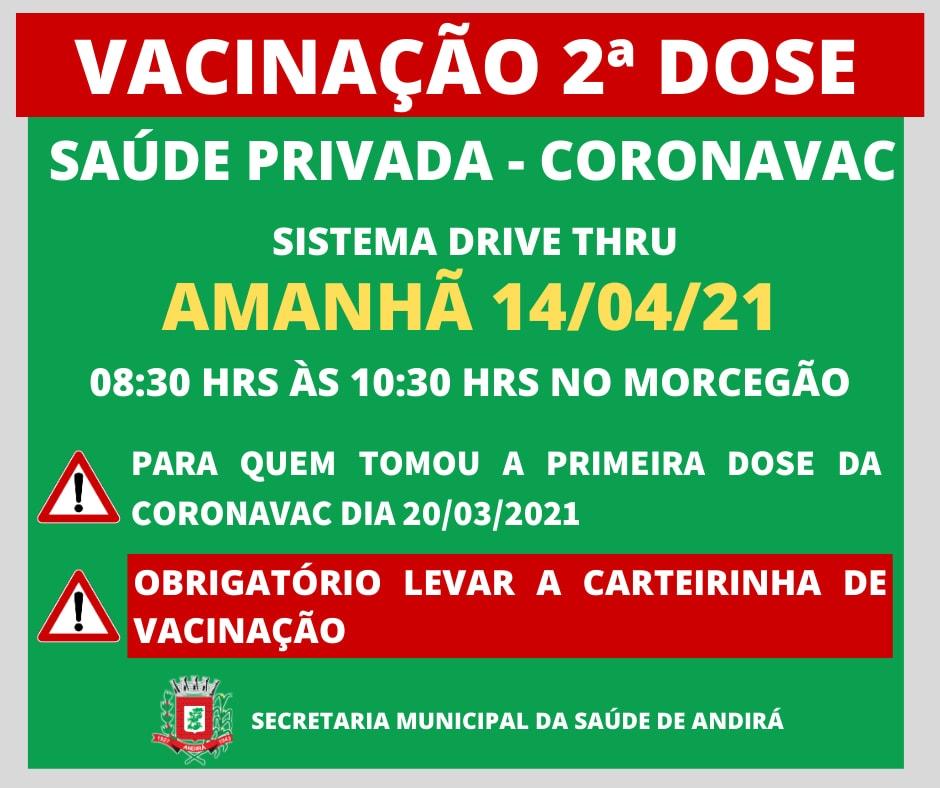 Informações sobre a vacinação em Andirá - Profissionais da Saúde Privada - 2ª dose
