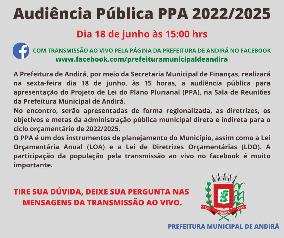 CONVITE - Audiência Pública do Plano Plurianual 2022/2025