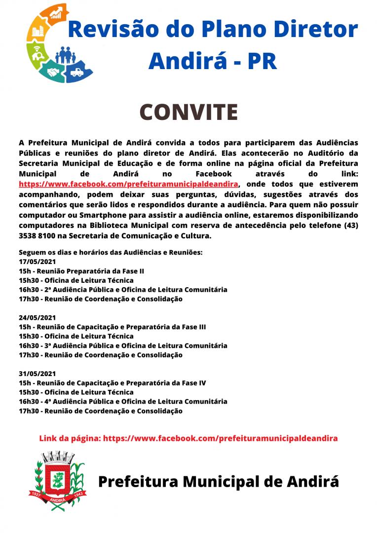 Convite para Audiência Pública e Reuniões do Plano Diretor