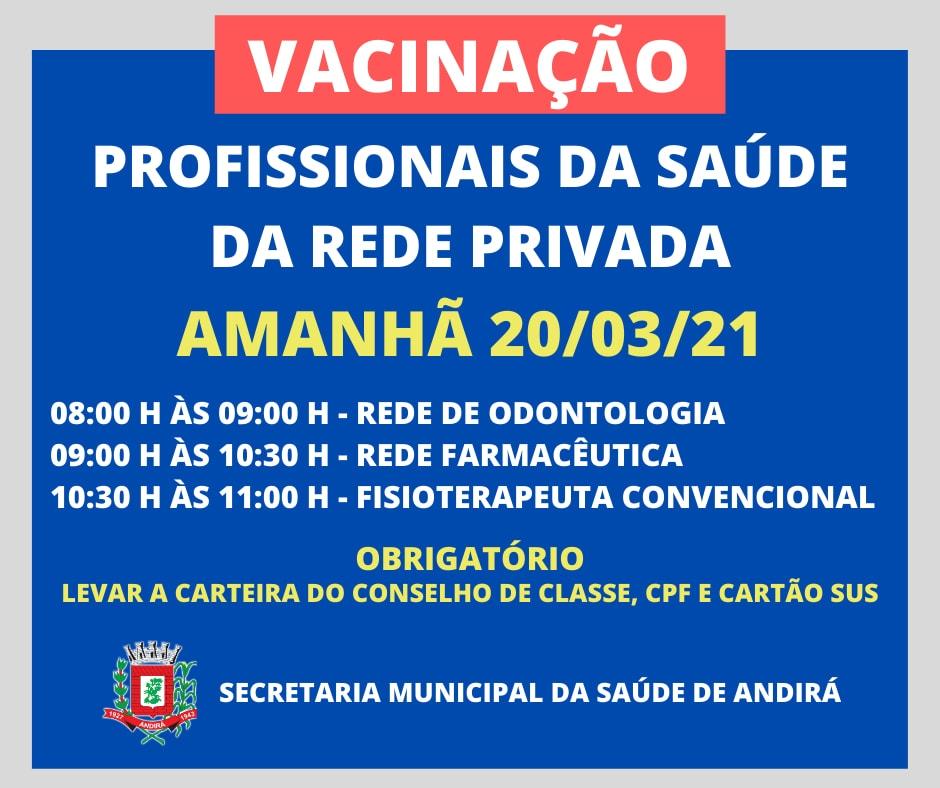 Vacinação Profissionais da Saúde Rede Privada