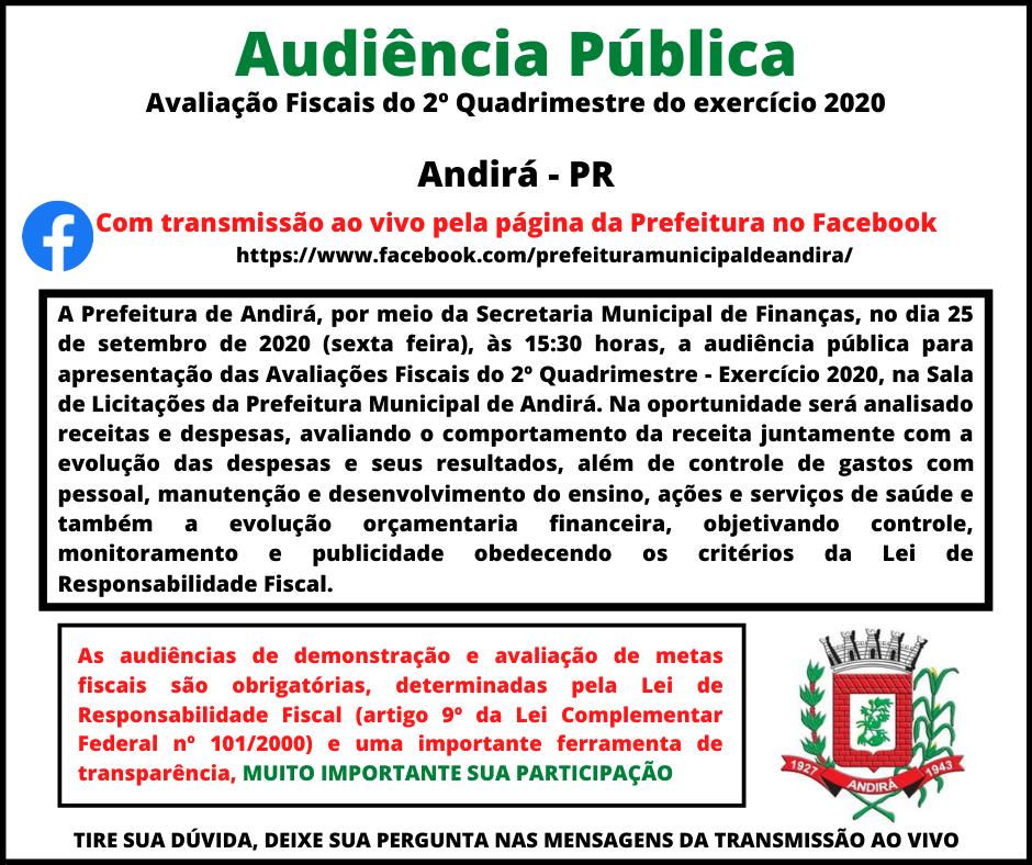 Convite Audiência Pública de Avaliação Fiscal do 2º Quadrimestre de 2020