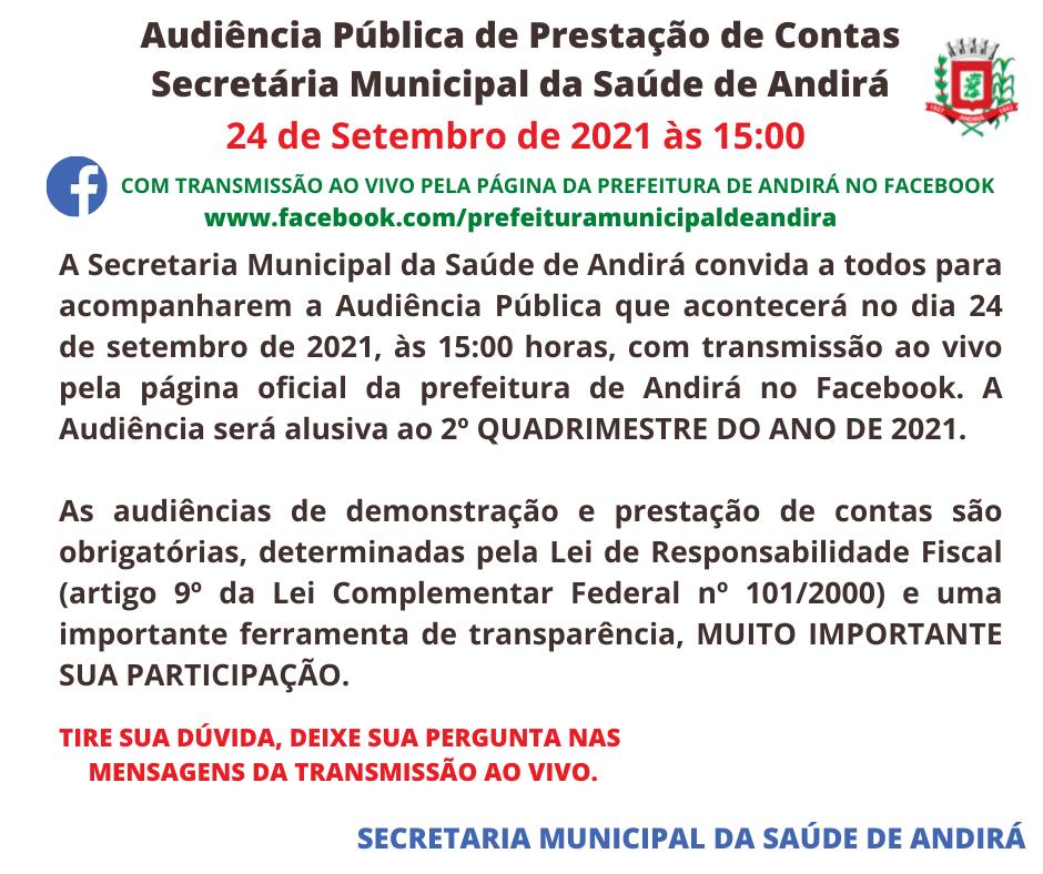Audiência Pública de Prestação de Contas da Secretária Municipal da Saúde de Andirá