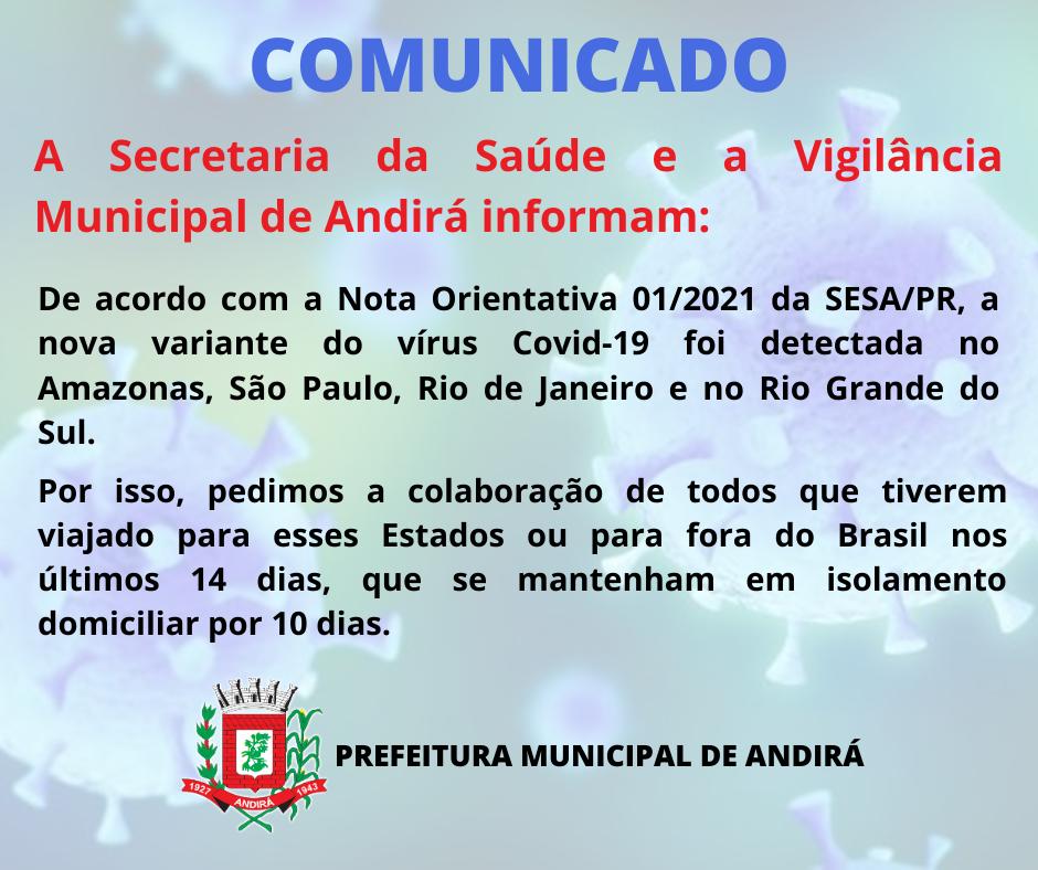 Secretaria da Saúde de Andirá informa sobre Nota Orientativa do Estado