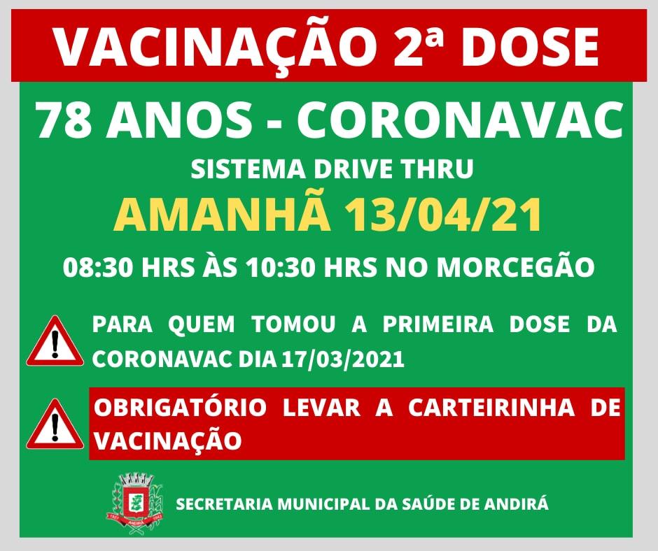 Informações sobre a vacinação em Andirá - 78 anos - 2ª dose