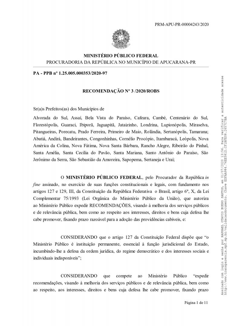 Recomendação Ministério Público Federal
