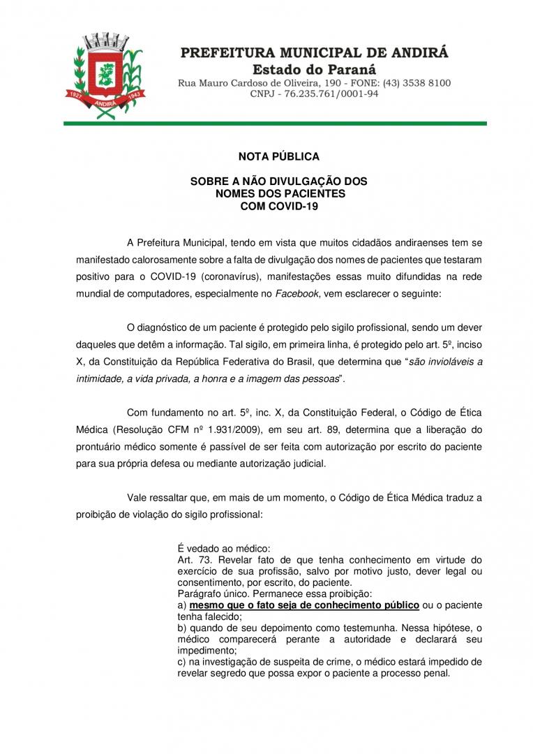 NOTA PÚBLICA - Sobre a divulgação dos nomes dos pacientes com COVID 19