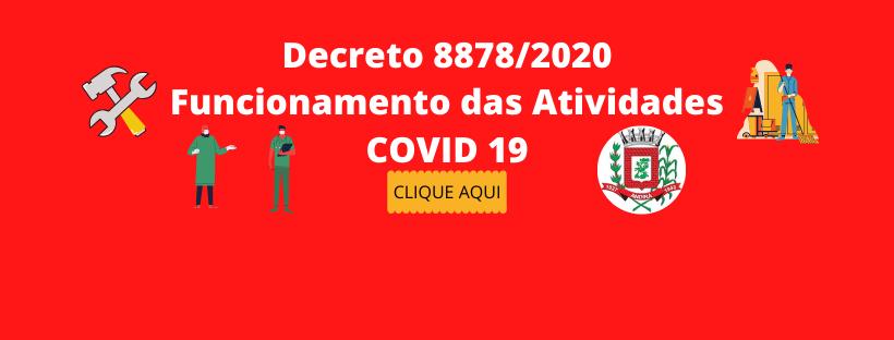 DECRETO Nº 8.878-18/05/2020 - Funcionamento de atividades após a confirmação de casos do COVID-19